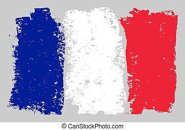 France Flag Sketch Illustration with Chalk Effect