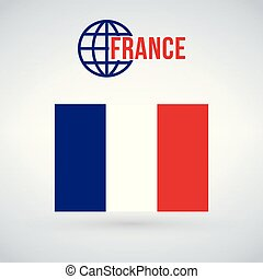 France flag vector illustration isolated on modern background with shadow.