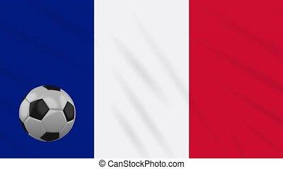 France flag waving and football rotates, loop