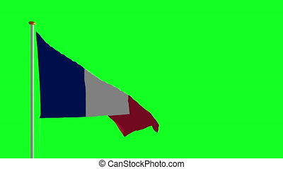 France flag waving on the wind green screen