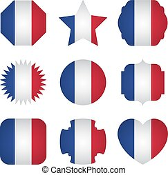 France flag with different shapes on a white background