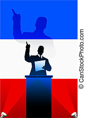 France flag with political speaker behind a podium - France...