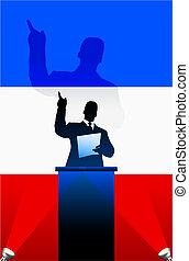 France flag with political speaker behind a podium