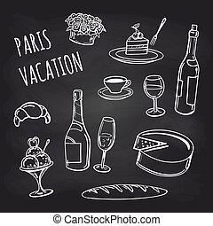 France food and drinks on chalkboard