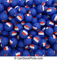 france, football, balles, (many)., 3d, render, fond