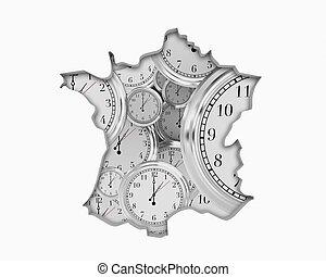 France FR Clock Time Passing Forward Future 3d Illustration