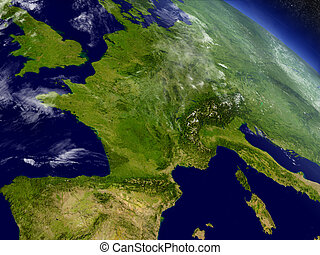 France from space - France with surrounding region as seen...