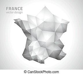France grey vector polygonal map