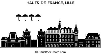 France, Hauts De France, Lille architecture vector city skyline, travel cityscape with landmarks, buildings, isolated sights on background