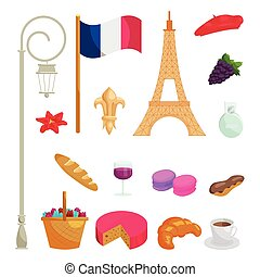 France icons set, cartoon style - France icons set in ...