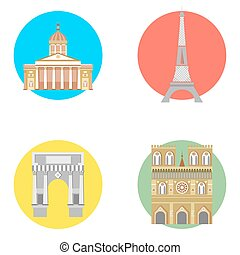 france icons set - illustration in the style of a flat...