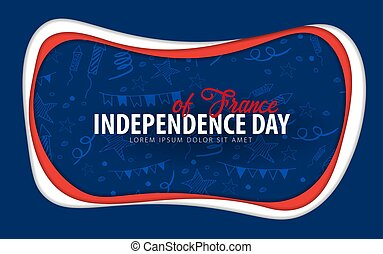 France. Independence day greeting card. Paper cut style.