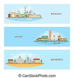 France, Italy and Mexico skyline