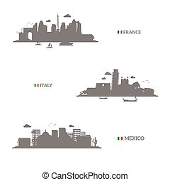 France, Italy and Mexico skyline silhouettes