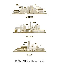 France, Italy and Mexico vintage skyline
