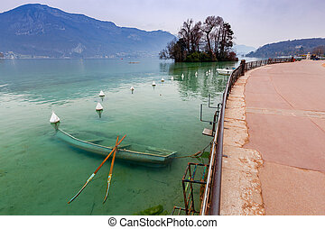 France. Lake Annecy. - Lake Annecy on the background of the...
