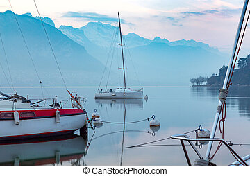 Lake Annecy on the background of the Alps. France. Annecy.