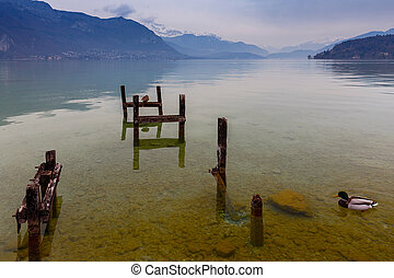 Lake Annecy on the background of the Alps. France. Annecy. Upper Savoy.