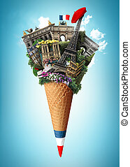France landmarks in ice cream cone
