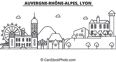France, Lyon architecture line skyline illustration. Linear...