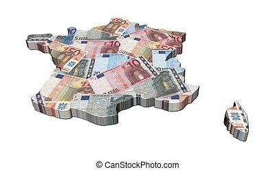 France map 3d render with euros illustration
