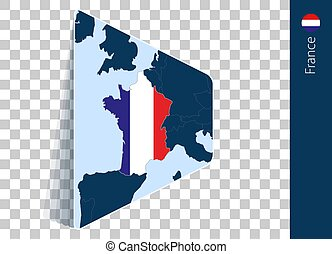 France map and flag on transparent background.