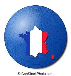 France map flag on abstract globe illustration