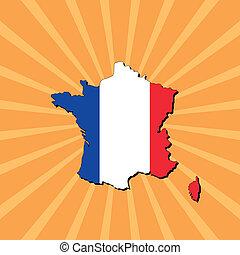 France map flag on sunburst