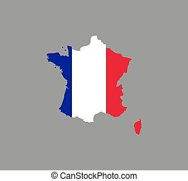 France map, flag on white background. Vector illustration.