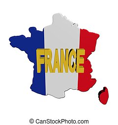 France map flag with text