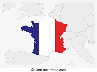 France map highlighted in France flag colors, gray map with neighboring countries.