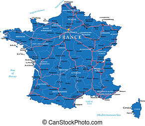 Highly detailed vector map of France with main regions, cities, roads and neighbour countries.