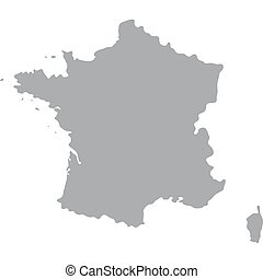 France Map of gray on a white background