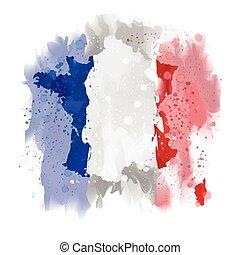 France map Watercolor paint