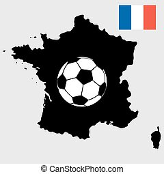 France map with flag and soccer ball