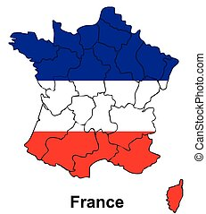 France map with flag inside, france