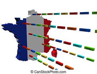 France map with lines of containers
