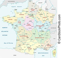 France map with the new regions and the most important...