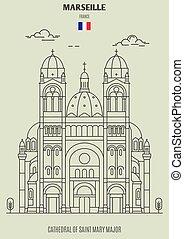france., mary, 大聖堂, マルセイユ, ランドマーク, 少佐, 聖者, アイコン