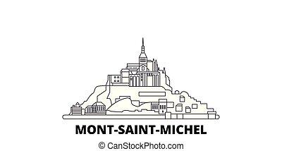 France, Mont Saint Michel And Its Bay line travel skyline set. France, Mont Saint Michel And Its Bay outline city vector illustration, symbol, travel sights, landmarks.