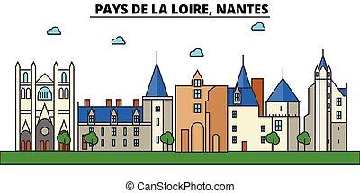France, Nantes, Pays De La Loire. City skyline architecture,...