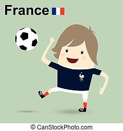 france, national, équipe football, homme affaires, heureux, est, jouant football