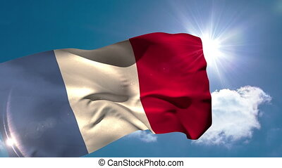 France national flag blowing in the