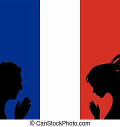 France national flag. People man and woman hands pray for Nice. World support for France. Nice terror attack on 14 July 2016. Vector illustration