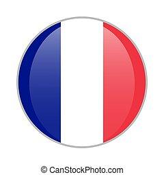 France national flag round glossy icon. French badge Isolated on white background.
