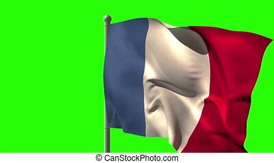 France national flag waving on flagpole on green screen...