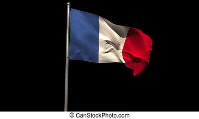 France national flag waving on flagpole on black background