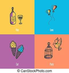 France National Symbols Vector Icons Set