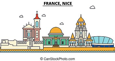 France, Nice. City skyline architecture, buildings, streets, silhouette, landscape, panorama, landmarks. Editable strokes. Flat design line vector illustration concept. Isolated icons set