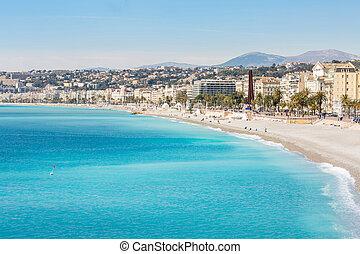France Nice Mediterranean beach - Nice Cote d'Azur Riviera...